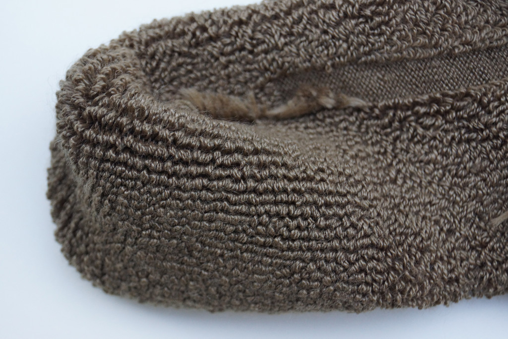 Thorlo Thick Cushion Combat Boot sock. Close-up of toe section showing the way the fabric is sown as a plush, loop pile.