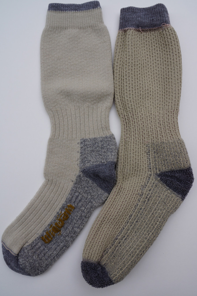 Wigwam Down Range Fusion socks. Right sock is inside-out to illustrate the cushion weave and liner.